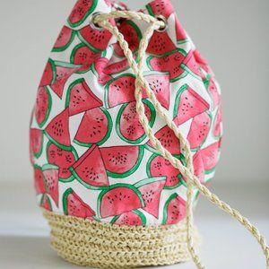 Watermelon Slice Cotton and Raffia Drawstring Bag